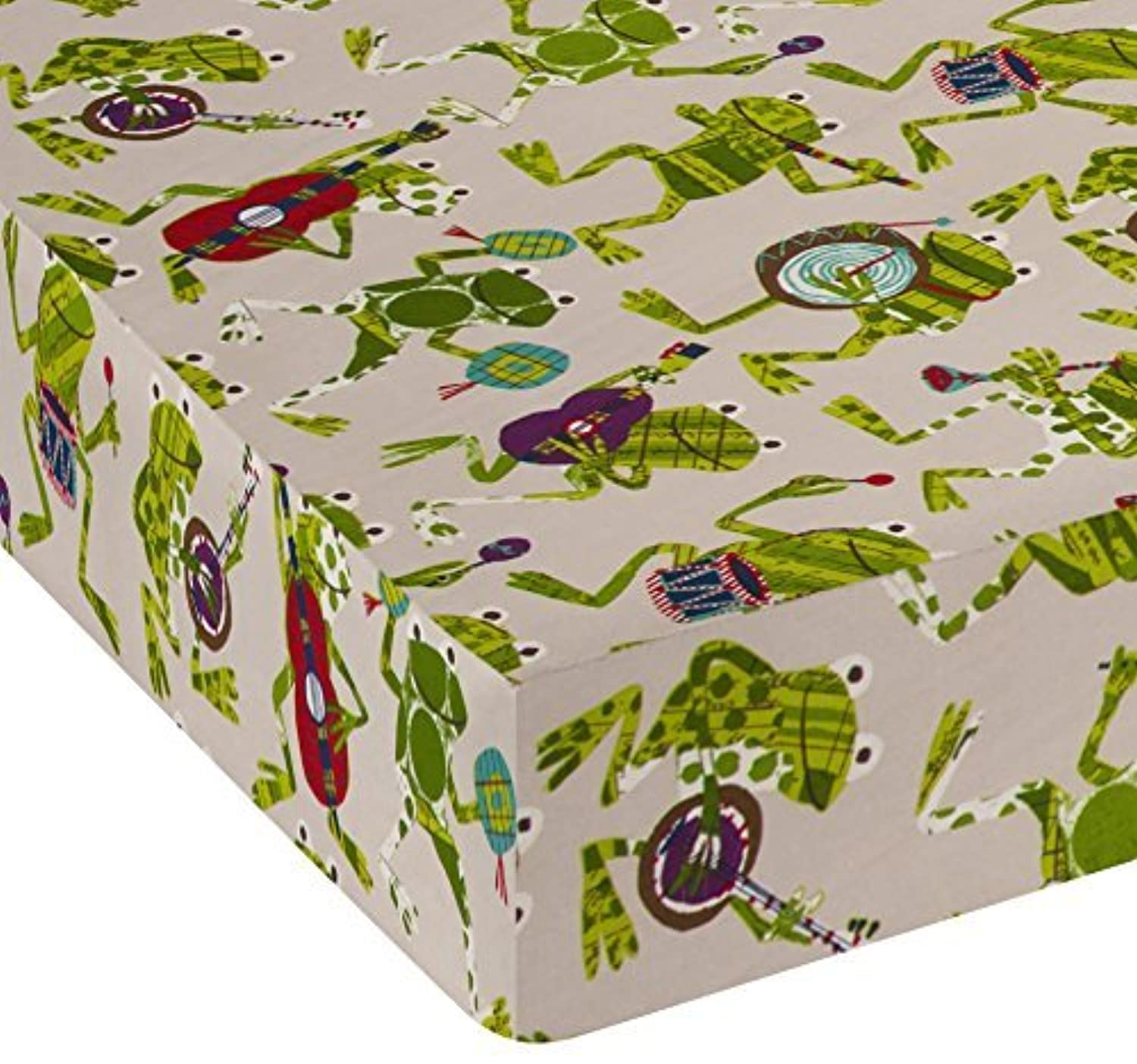 Sweet Potato Frog Song Fitted Sheet-Frogs Green/Brown/Cream crib [並行輸入品]
