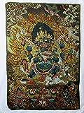 チベット 仏 教 仏 画 シルク 織物 金糸 刺繍 タンカ (大黒天 マハーカーラ (小))