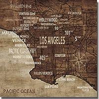 """芸術的ホームギャラリー3636am870tg """"マップロサンゼルスの"""" by Luke Wilson Premium OversizeギャラリーWrappedキャンバスプリントアート( Ready to Hang )"""