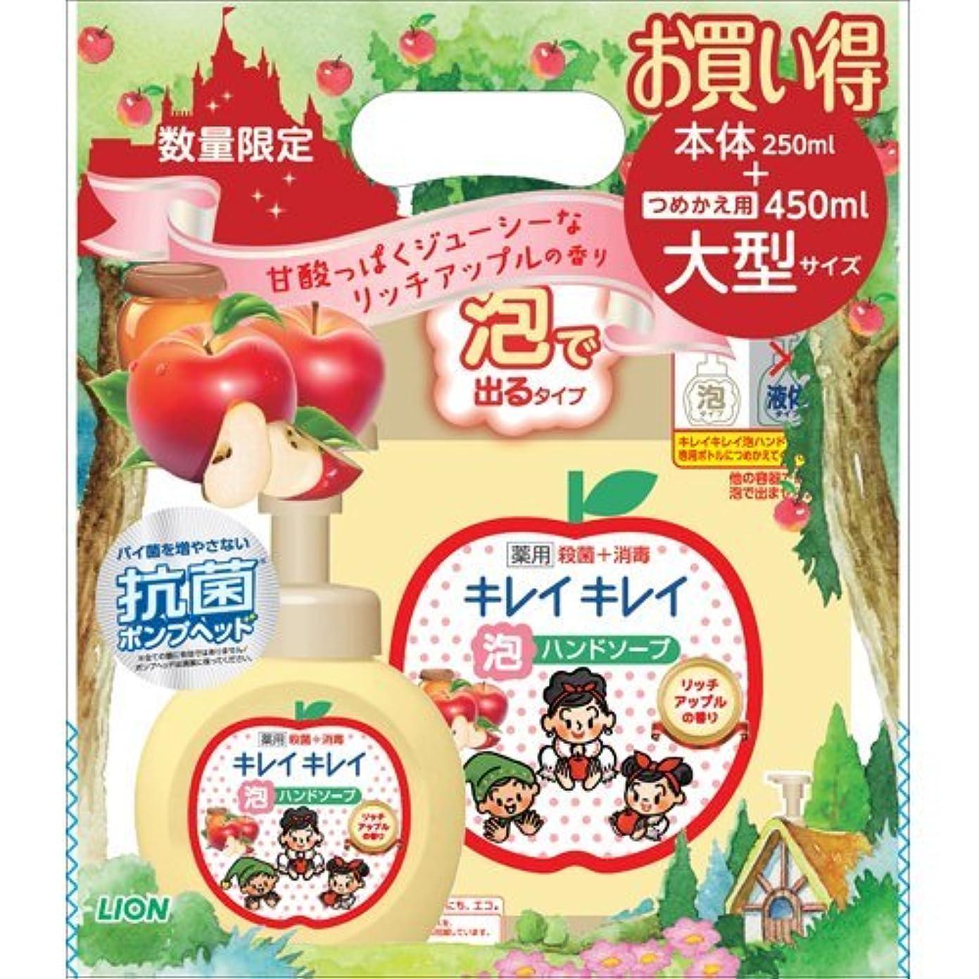 解明する今説得キレイキレイ 薬用泡ハンドソープ リッチアップルの香り 本体250ml+つめかえ用大型サイズ450ml