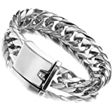 Jxlepe Miami Cuban Link Chain Bracelet 16mm Big Silver White Stainless Steel Curb Bangle for Men (30)