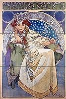 """ポスターPrincess Girl by Alphonse Muchaタイル壁画キッチンバスルーム壁後ろの油ストーブ範囲シンク止め板2x 34.25インチセラミック、光沢 8"""" Ceramic, Glossy I723__2x3_8iCerGlos_Tile_Mural"""