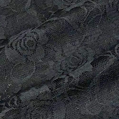 KMS バラ柄 レース 生地 幅150㎝ ハンドメイド 材料 素材 衣装 ドレス カーテン (1m, ブラック)