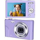 デジタルカメラ デジカメ コンパクト HD 16倍ズーム44MP 2.7Kデジタルポイントおよびシュートカメラビデオカメラを備えた1080PビデオブログLCDミニカメラ、キッズ学生初心者のための屋内屋外(紫の)