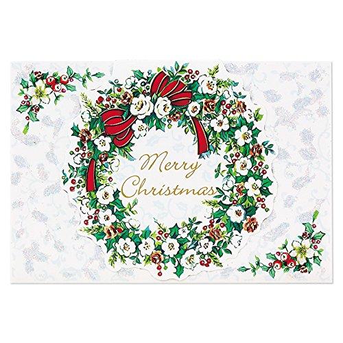 サンリオ クリスマスカード 洋風 二つ折り ラメ付きリース ...