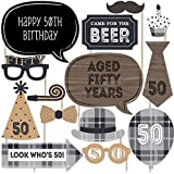 50th Milestone Birthday - Dashingly Aged to Perfection - Birthday Party Photo Booth Props Kit - 20 Count