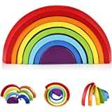 Coogam Wooden Rainbow Stacker Nesting Puzzle Blocks - Tunnel Stacking Game Building Creative Color Shape Matching Jigsaw Lear