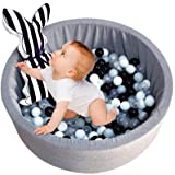 Awhao Round Kids Ball Pit Deluxe Elastic Durable & Thick Memory Foam Sponge for Indoor Outdoor Gray