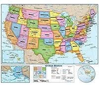 "Academiaマップ–United States主壁完全マップ–ラミネート–教室スタイル–Grades 2–3 60"" x 50"""