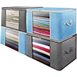 Large Capacity Clothes Storage Bags, 4 Pack Foldable Storage Bag Organizer with Reinforced Handle, Firm Fabric, Space Saver f