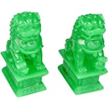 Wealth Porsperity Pair of Fu Foo Dogs Guardian Lion Statues Traditional Chinese Guardian Lion Statues Stone Finish Feng Shui