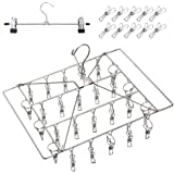 DUOFIRE Stainless Steel Clothes Drying Racks Laundry Drip Hanger Laundry Clothesline Hanging Rack Set of 26 Metal Clothespins