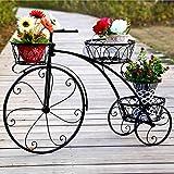 消毒木製フラワースタンド ヨーロッパスタイルのマルチレイヤー自転車フレーム屋内と屋外の床スタイルのクリエイティブキャリッジフラワーポットラック 強い支持力 (色 : Black)