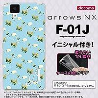 F01J スマホケース arrows NX ケース アローズ エヌエックス イニシャル 花柄・バラ(E) 水色 nk-f01j-tp249ini T