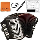 Hohner Panther F/B/E 3-Row Diatonic Accordion 3100FB - Black Bundle with Mini Harmonica, Juliet Music Polish Cloth & Piano Ke