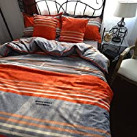 mzprideボーホースタイルシートセットボヘミア寝具セット布団カバーセットカラフルなストライプフラットシートスタイル クイーン