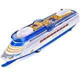 CORPER TOYS Ship Toy Die Cast Metal Cruise Ship Model Ocean Liner Boat Pull Back Toy for Kids with Flashing LED Lights and So