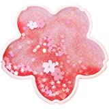 Coaster Cup Mat Heat-resistant Cup Pad Glitter Sakura Shape with Quicksand for Drink Table Kitchen Pink Kitchen Gadgets and A