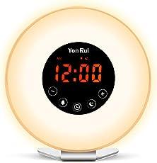 ライト時計 目覚まし時計 目覚ましライト ベッドサイドランプ 朝日模擬光  光療法 アラーム 大音量FMラジオ 多色変換 時間記憶 スヌーズ付 輝度&音量調整可 自然音 デジタル時計 6色ナイトライト