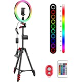 Neewer 10-inch RGB Ring Light Selfie Light Ring with Tripod Stand & Phone Holder, Infrared Remote Control, Dimmable 16 Colors