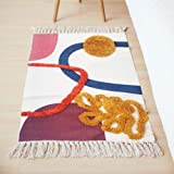 Wolala Home Morocco Tufted Cotton Colorful Shag Rug Hand Woven Printed Area Rugs with Anti Skid Pad Throw Rug Machine Washabl