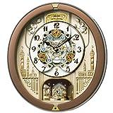 SEIKO CLOCK (セイコークロック) 掛け時計 電波 アナログ からくり 30曲メロディ 回転飾り 茶メタリック RE573B