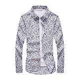 メンズ シャツ 長袖 花柄 大きいサイズ カジュアル 総柄/メンズシャツ カジュアルシャツ 花柄シャツ 長袖シャツ 薄手 C55 (サイズM)