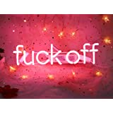 Cool Decorative Signs Fuck Off Real Glass Neon Light Sign PinkLamp
