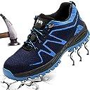 安全靴 スニーカー 作業靴 先芯入り 登山靴 レディース メンズ 耐滑 軽量 通気 耐磨耗 衝撃吸収 ウィンジョブ セーフティーシューズ ブルー 38