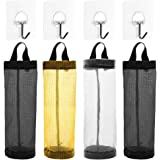 Plastic Bag Holder, AFUNTA 4 Pcs Household Foldable Breathable Hanging Mesh Garbage Bags Organizer with 4 Pcs Hook Hanger for