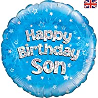 Happy Birthday Son Blue Holographic Foil Balloon 45cm (18