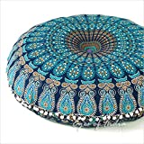 "EYES OF INDIA - 32"" Blue Mandala Large Floor Pillow Cover Meditation Cushion Seating Throw Hippie Round Colorful Decorative B"