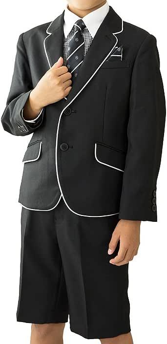 CHOPIN(ショパン) 入学式 スーツ 男の子 8791-5403 パイピングジャケット ギンガムチェックシャツスーツ (120, ブラック)