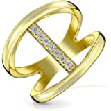 Geometric Pave Cubic Zirconia Fashion Statement Double Band Bar Ring For Women CZ 14K Gold Plated 925 Sterling Silver