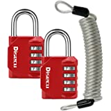Combination Padlock with Cable, Red