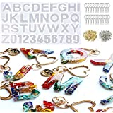 Xin store 221 Pieces Silicone Alphabet Resin Mold Kit with Keychain Rings Set for DIY Casting Jewelry Making
