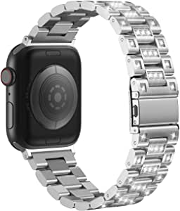 FRESHCLOUD Apple Watch バンド コンパチブル アップルウォッチ バンド ビジネススタイル ステンレススチール コンパチブル 防汗 iwatch series5 4 3 2 1対応 42mm 44mm ビジネス風 おしゃれ 交換ベルト (38mm/40mm, シルバー(ダイヤ付き))