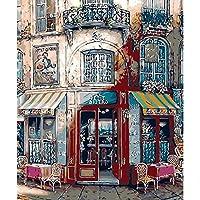 LovetheFamily 数字油絵 数字キット塗り絵 手塗り DIY絵 デジタル油絵 北欧の店 40x50cm ホーム オフィス装飾(フレーム付き)