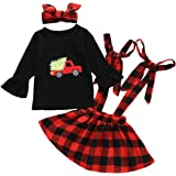 Toddler Baby Girls Kids Skirt Sets Infant Cotton Long Sleeve T-Shirt Ruffle Top + Plaid Strap Suspender Dress Overall Outfits