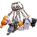 Finduat 12 Pcs Cat Keychains Charms, Collectable Figurines for Kids Adults, Birthday Party Centerpiece Decorations, Cat Theme
