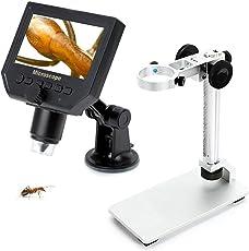 Nomeo デジタル顕微鏡 4.3インチ液晶 最大600倍率 HD 360万画素 吸盤式・昇降スタンド式 LED搭載 デジタルマイクロスコープ USB充電 鮮明なミクロな世界へ!! (3.6MP)