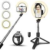MIUSI [2020 UPGRADED VERSION] Selfie Stick Tripod,Selfie Ring Light,Mini Extendable Tripod Stand Phone ,Circle Light Selfie S