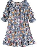 [Vaenait Baby] キッズガールズ4-12歳半袖パジャマルームウェア子供ナイトドレスワンピースLacy Bloom S