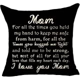 (19) - FELENIW Best Wishes to mom I Love You mom Throw Pillow Cover Cushion Case Cotton Linen Material Decorative 46cm x 46cm