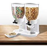 Double Cereal Dispenser Dry Food Storage Container Dispense Machine White White