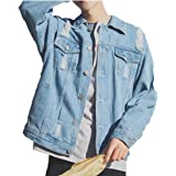Maweisong Men Hole Ripped Distressed Long Sleeve Buttons Demin Jackets