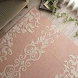 洗える 防ダニ 抗菌 ラグ カーペット ロココ 190x190 ㎝ ピンク 約 2畳 アラベスク 国産 日本製 ホットカーペット 床暖房対応