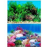 50x152cm 水族館ポスター バックスクリーン 3D効果 両面壁紙 水槽の背景 水槽の飾り 水草とサンゴ礁のポスター