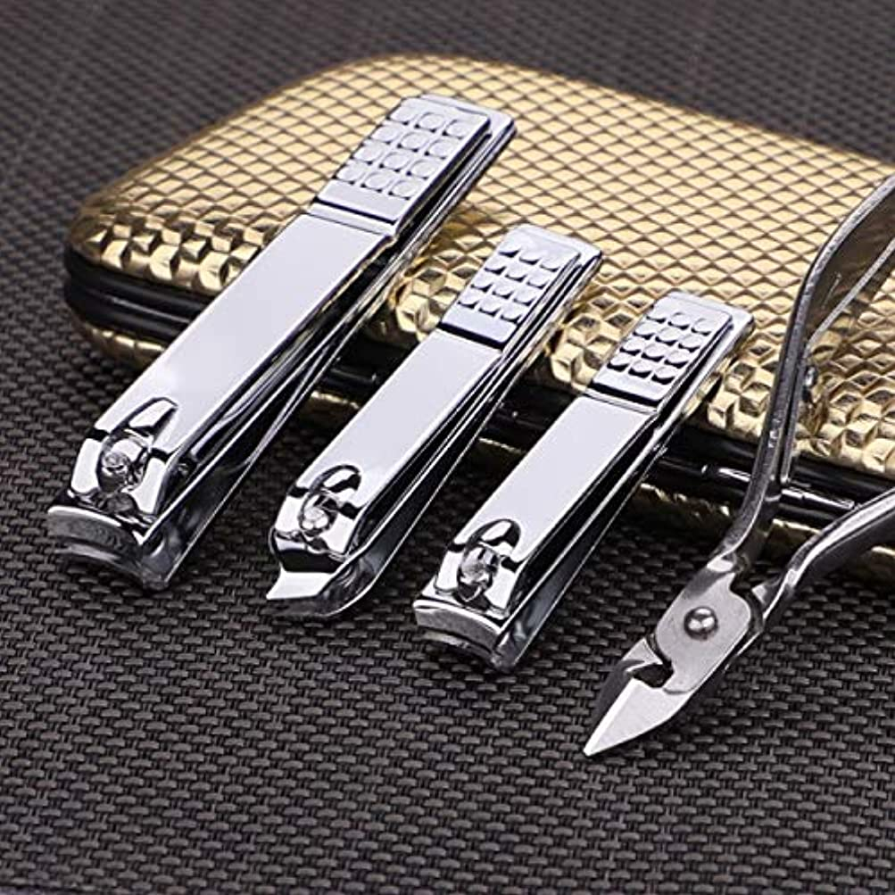 クランシーキリマンジャロ統治可能CHAHANG ネイルはさみペディキュアナイフマニキュアナイフ耳のスプーン鼻毛カットレザーはさみツールセットゴールド革16個セット (Color : Silver)