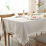 AMZALI Stripe Tassel Tablecloth Cotton Linen Stain Resistant/Dust-Proof Waterproof Table Cover for Kitchen Dinning Tabletop D